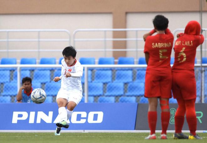 Video highlight trận Nữ Việt Nam - Nữ Indonesia: Tưng bừng 6 bàn, bán kết thẳng tiến - 1
