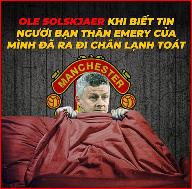 """Solskjaer bắt đầu """"run rẩy"""" khi nghe tin Emery bị Arsenal sa thải."""