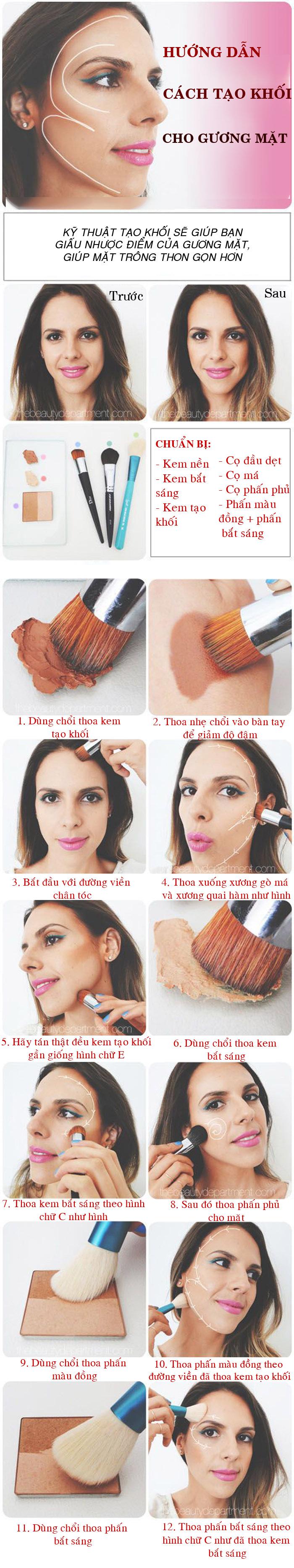 Hướng dẫn cách trang điểm tạo khối giúp gương mặt thon gọn hơn - 1