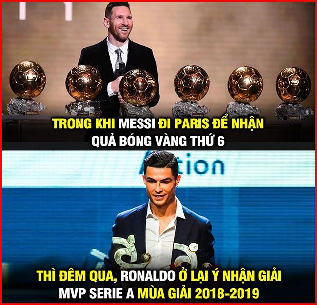 Trong khi Messi nhận quả bóng vàng thứ 6 thì Ronaldo lại vắng mặt ở buổi lễ trao giải.