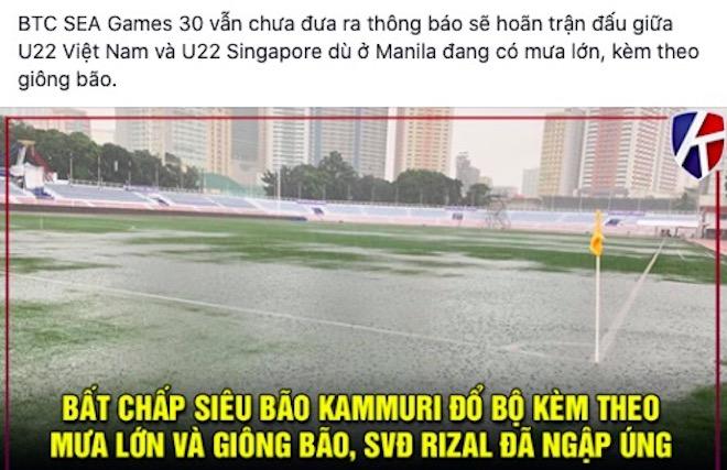 Nhìn sân U22 Việt Nam gặp U22 Singapore ngập, dân mạng nhớ tuyết Thường Châu - 1