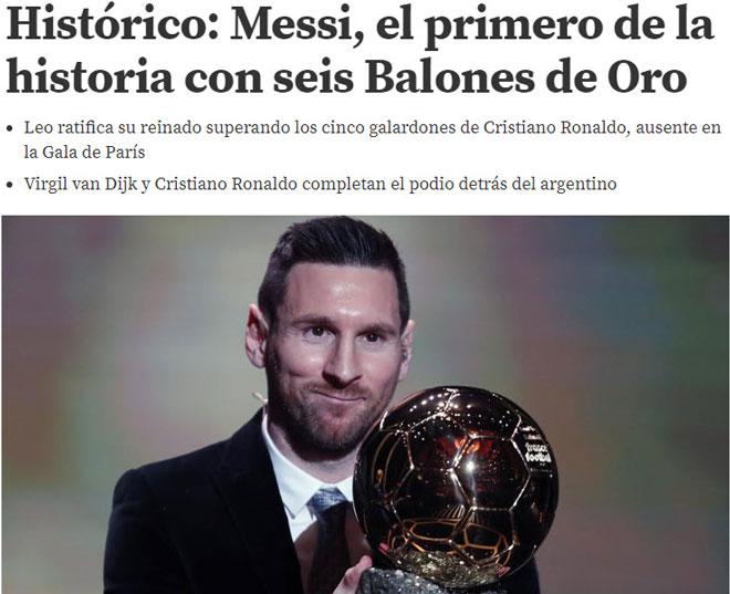 """Messi vượt Ronaldo giành 6 Bóng vàng: Báo chí nể phục, mệnh danh là """"Vua"""" - 1"""