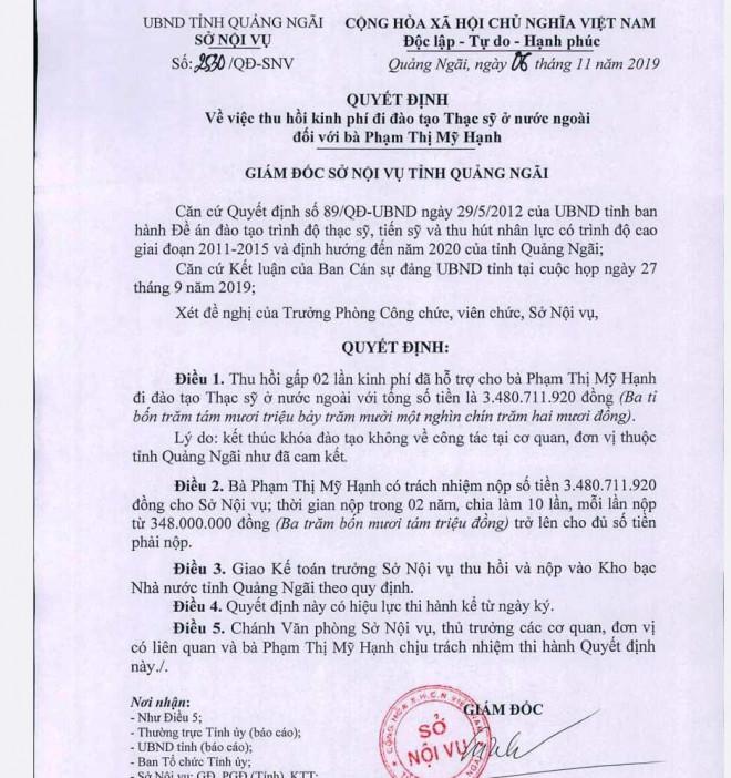 Quan chức Quảng Ngãi phân trần chuyện con du học bằng tiền ngân sách không về - 1
