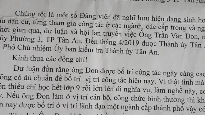 Phó chủ nhiệm Ủy ban Kiểm tra Thành ủy ở Long An không có bằng cấp 3 - 1