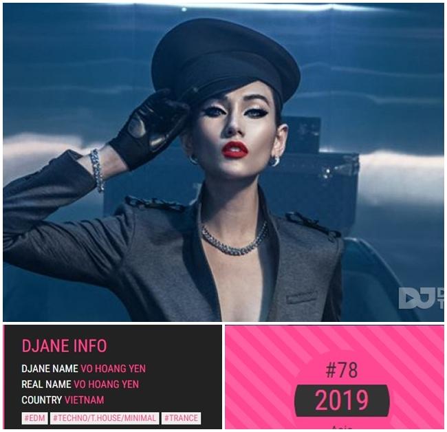 Mới đây, trang djanetop đã công bố danh sách bình chọn Top 100 DJ châu Á năm 2019. Đứng đầu danh sách là DJ đến từ xứ sở kim chi - DJ Soda. Việt Nam có 3 mỹ nhân lọt top bình chọn này là Annie G, King Lady và Võ Hoàng Yến. Siêu mẫu 8X là cái tên gây bất ngờ khi lọt top danh sách này. Đây là năm đầu tiên, chân dài họ Võ lọt vào danh sách này. Cô đứng thứ 78 trong Top 100 DJ châu Á 2019.