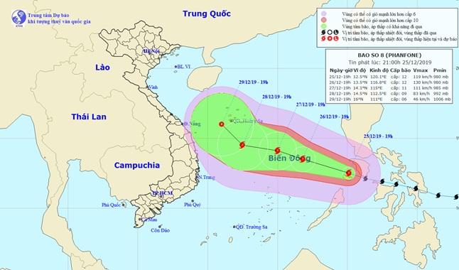 Bão Phanfone giật cấp 14 chính thức vào Biển Đông trở thành bão số 8 - 1