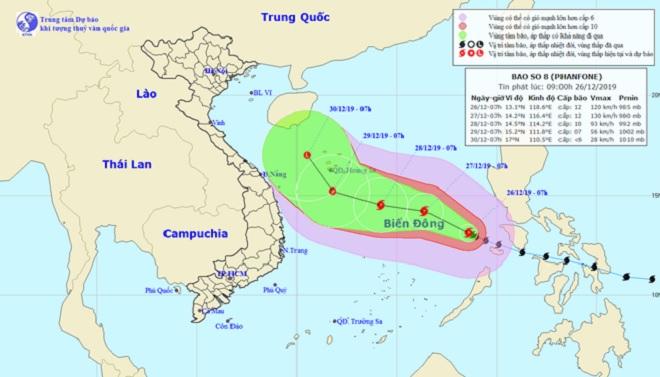 Thông tin mới về vị trí và cường độ của bão số 8 Phanfone trên Biển Đông - 1