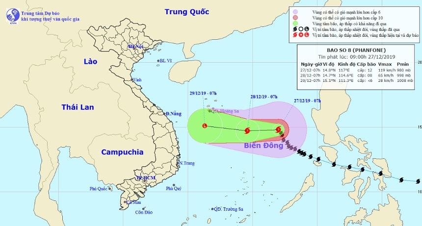 Bão số 8 Phanfone đang hoành hành trên Biển Đông, sóng biển cao 5-7m - 1