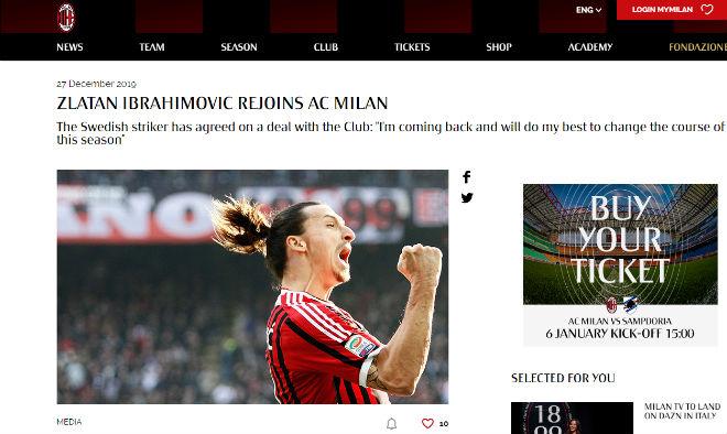 """""""Bom tấn"""" chuyển nhượng bất ngờ: Ibrahimovic CHÍNH THỨC tái hợp AC Milan - 1"""