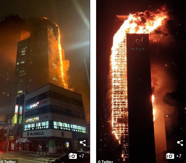 Video: Khoảnh khắc lửa cháy dữ dội bao trùm tòa nhà 33 tầng ở Hàn Quốc giữa đêm - 1