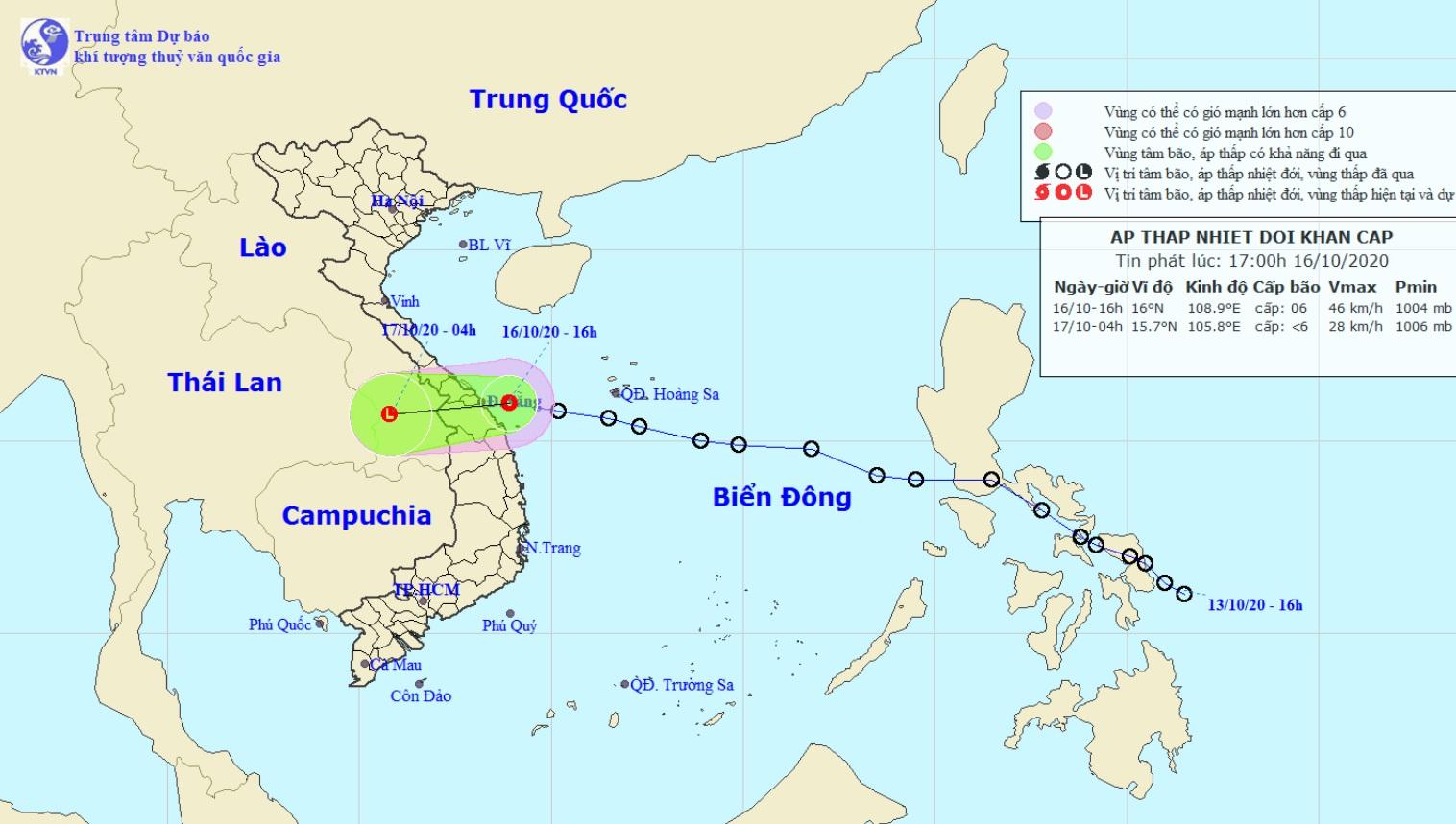 Áp thấp nhiệt đới đi vào vùng biển Đà Nẵng – Quảng Ngãi, nhiều nơi đang mưa to - 1