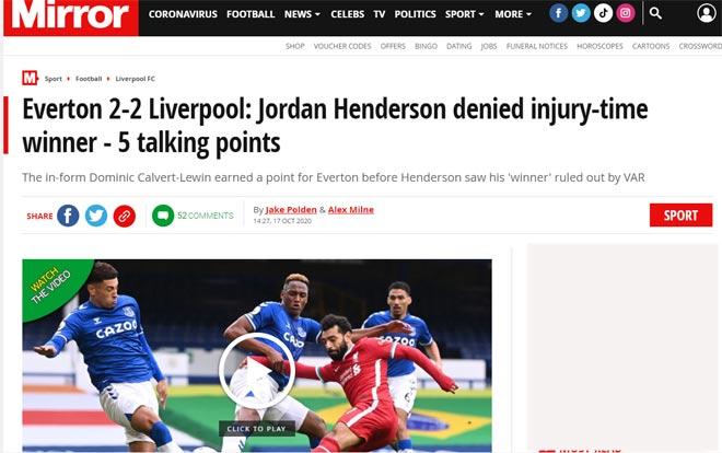 Liverpool bị cầm hòa: Báo Anh nghĩ Everton đáng bị 2 thẻ đỏ, Mane mất bàn thắng oan - 4