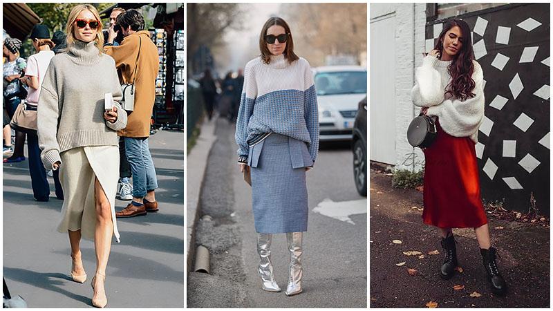 Bí quyết mặc váy midi cho mùa thu đông sành điệu - 6