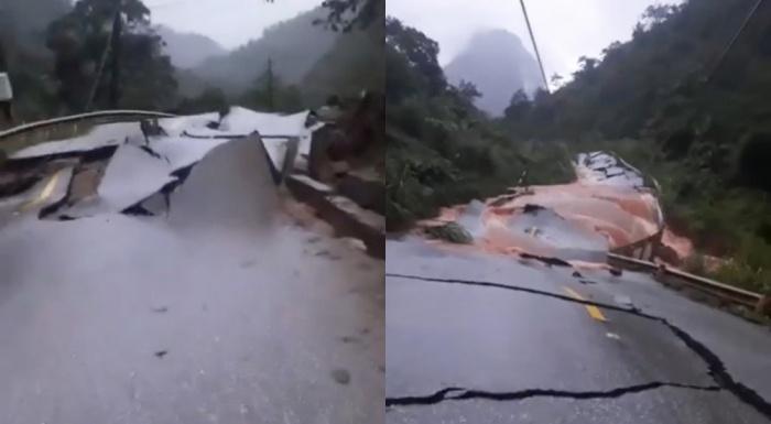 QL12 nứt gãy như động đất, cấm đường lên cửa khẩu Cha Lo - 1