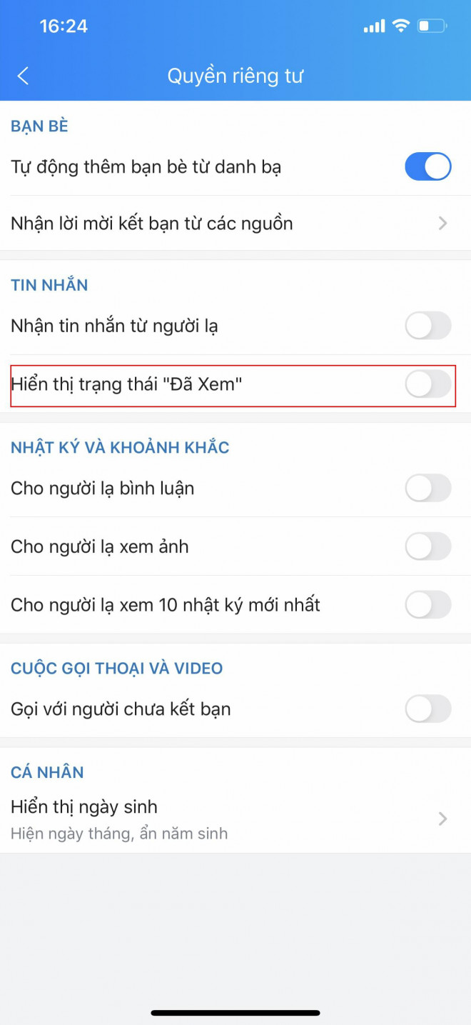 How to turn off 'viewed' statuses  messages on Zalo - 3
