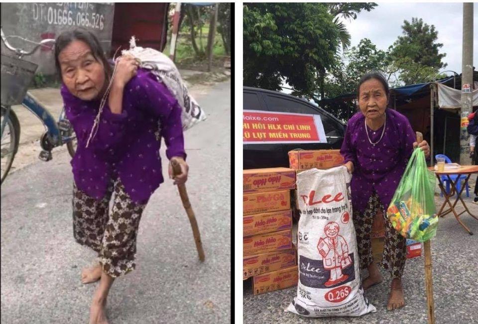 """Cụ bà cõng bao quần áo, mì tôm ủng hộ miền Trung: """"Của ít lòng nhiều, chết có mang đi được đâu"""" - 1"""
