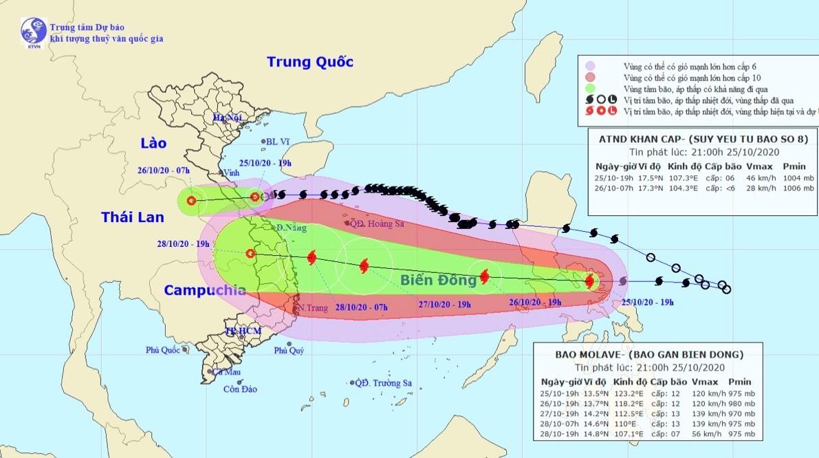 Bão số 8 vừa suy yếu, bão số 9 rất mạnh sẽ đi vào Biển Đông trong ngày 26/10 - 1