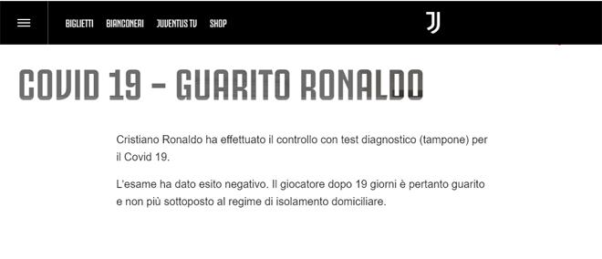 Ronaldo chính thức âm tính với Covid-19, sẵn sàng trở lại giải cứu Juventus - 1