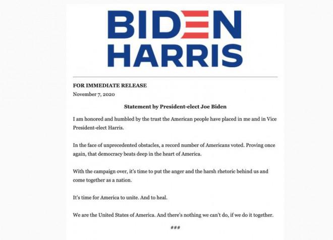 2 ông Trump và Biden nói gì ngay sau khi có kết quả bầu cử? - 1