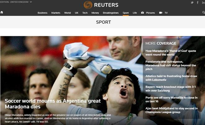 """Báo chí thế giới tiếc thương """"Cậu bé vàng"""" Maradona: """"Bàn tay của Chúa"""" là bất tử - 1"""