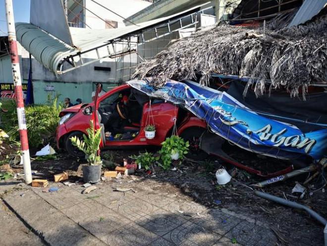 A car crashes a series of motorcycles, crashing a café along the way - 6