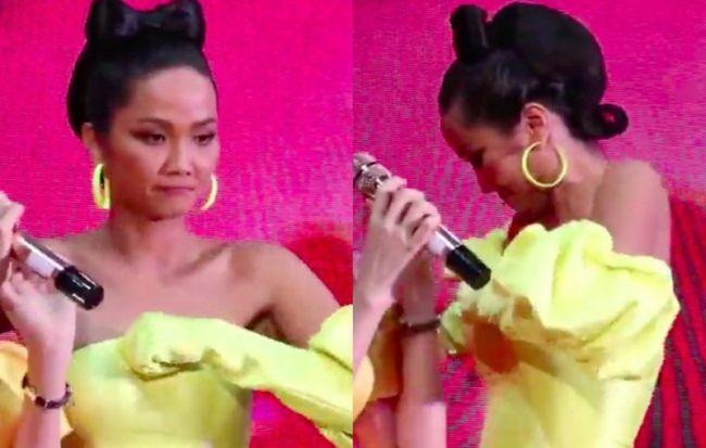 Tuy nhiên, trong phần giao lưu cùng MC và người hâm mộ, nàng Hậu liên tục phải chỉnh váy vì sợ hớ hênh.