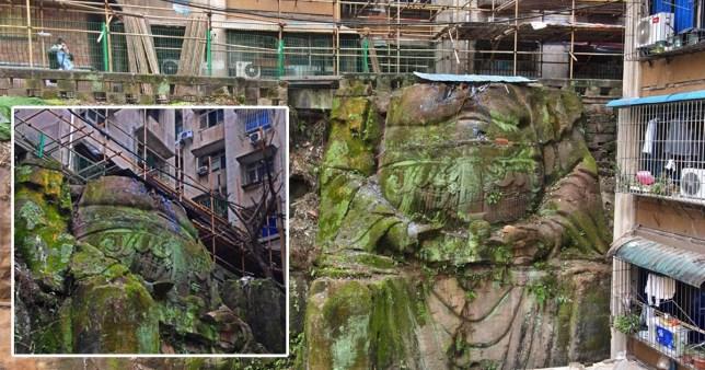Tượng Phật khổng lồ ngàn năm lộ diện bên dưới chung cư ở Trung Quốc - 1