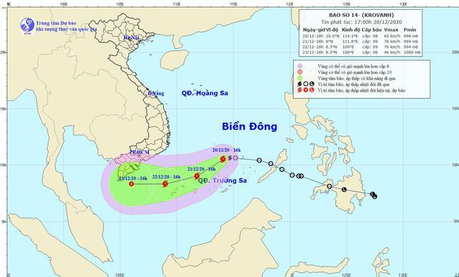 Tin mới nhất về bão số 14: Tâm bão cách đảo Song Tử Tây khoảng 120km về phía Nam, gió giật cấp 10 - 1