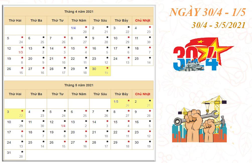 Lịch nghỉ chi tiết các ngày lễ, Tết trong năm 2021 - 4