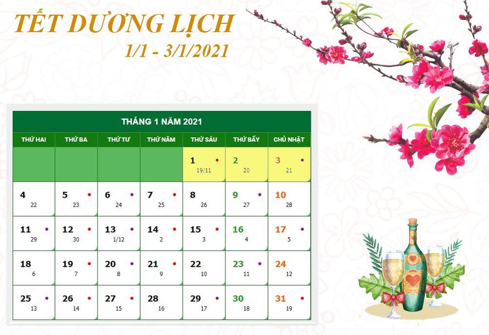 Lịch nghỉ chi tiết các ngày lễ, Tết trong năm 2021 - 1