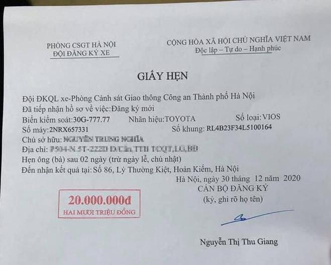"""Thêm một bàn tay vàng trong làng bốc biển, chủ xe Toyota Vios tại Hà Nội """"bấm"""" được ngũ quý 7 - 1"""